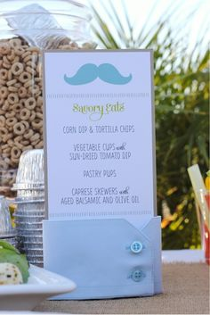 Little Man 1st Birthday Party  Food Signage - In Men's Shirt Cuffs - Hope i get a boy someday to try this!! - Click image to find more Illustrations & Posters Pinterest pins