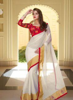 Off White designer art silk saree for festival wear H15107