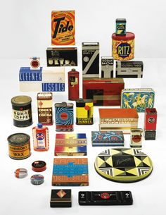 A Thirty-Piece American Modern Package Design Collection comprising thirty pieces of product packaging with select designs by Egmont Arens, Donald Deskey, Robert Foster, Raymond Loewy, Winold Reiss, Walter Dorwin Teague and John Vassos select examples with original contents  painted metal, cardboard, paper, glass and plastic.