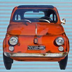 Fiat 500 pop portrait- 120x120 cm - with original 70th car parts