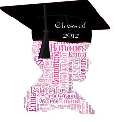 Graduation silhouette to say Congratulations to your family and friends after all their hard studying using all your own words and colour choice.