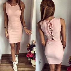 Pink Plain Hollow-out Drawstring Tie Back Round Neck Mini Dress - MalangFashion
