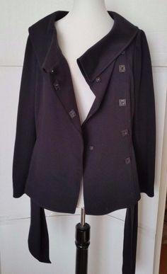Tahari Jacket Arthur S Levine  Womens Medium Shawl Collar Belted Black snaps 8  #Tahari #BasicJacket #Casual