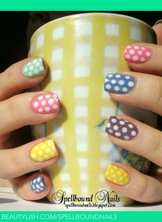 Dots Galore | Ashley P.'s (spellboundnails) Photo | Beautylish Shellac Nails, Diy Nails, Nail Polish, Gel Nail, Manicure Ideas, Nail Manicure, Acrylic Nails, Spring Nails, Summer Nails