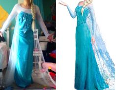 I'm not even close to being done with this but I just wanted to share this in hopes to help anyone who is also trying to make Elsa's dress I am amazed at how similar the colors turned out to be, I got...