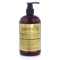 Pura d'or dor Premium Organic Argan Oil Anti Hair Loss Shampoo, 16 Oz Gold Label #Purador