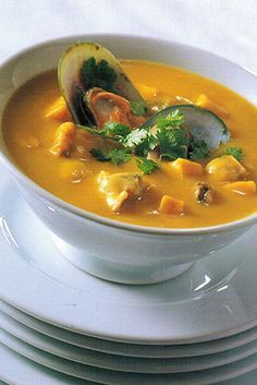 Kumara And Mussel Chowder Soup Broth, Mussels, Chowder, Thai Red Curry, Seafood, Cooking Recipes, Ethnic Recipes, Soups, Favorite Recipes