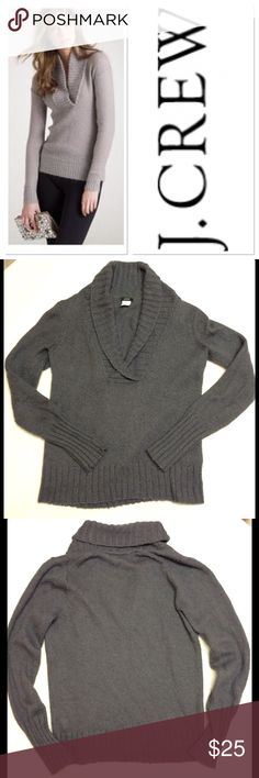 """S J CREW grey chalet popover wool/mohair sweater Brand: J Crew Size: S Measurements: pit to pit 20"""" shoulder to hem 23"""" Material: 46% acrylic, 24% nylon, 20% wool, 10% mohair Features: color is the grey in pics 2-4, V Neck , Soft Material  Condition:  Good Used Condition J. Crew Sweaters"""