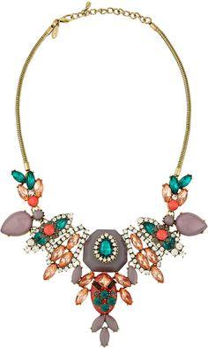 Greenbeads Multi-Shaped Crystal Bib Necklace