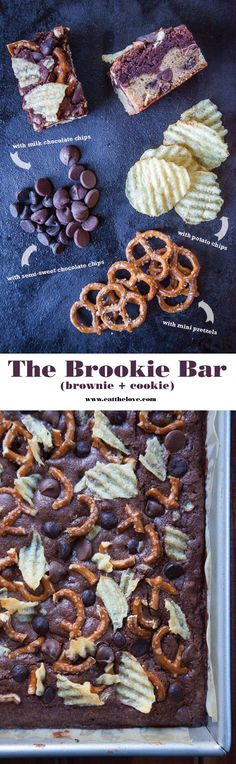 This made-from-scratch brookie recipe (a layered brownie and cookie bar) has potato chips, pretzels and two types of chocolate chips that my friends loved.