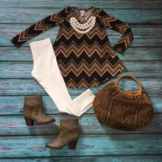 Kennedy Long Sleeve Basic Tee, Ivory Skinnies, Taupe Kathrin Boots, and Ivory Sassy Necklace - The ZigZag Stripe