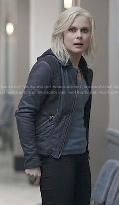 Liv's blue leather jacket with knit panels on iZombie I Zombie, Lemon Print, Hair Styles 2016, Autumn Winter Fashion, Winter Style, Geek Girls, Character Outfits, Rose Mciver, Leather Jacket