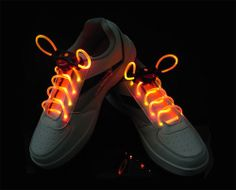 LED Light Shoelaces Glow Shoe Strings Red Glow Shoes, All Black Sneakers, Sneakers Nike, Pairs, Yellow, Orange, Stuff To Buy, Party Supplies, Neon