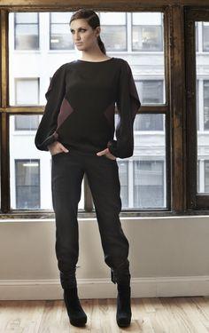 Angular Silk Longsleeve Top with Tie Back Wool Plaid Trouser Crescala Fashion Development Sales@crescala.com