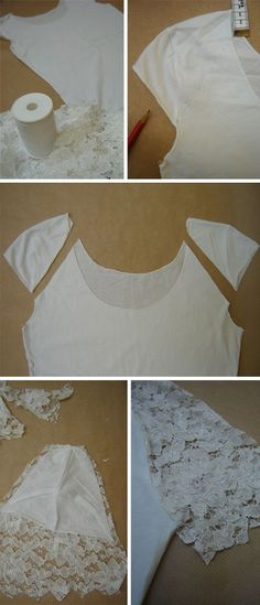 DIY shirt refashion with lace sleeves. Diy Clothing, Sewing Clothes, Clothes Patterns, Sewing Hacks, Sewing Tutorials, Sewing Ideas, Crochet Tutorials, T-shirt Refashion, Clothes Refashion