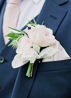pink wedding boutonniere idea; featured photo: Dominique Bader Photography