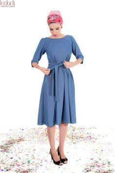 3/4 sleeve sky blue modest dress