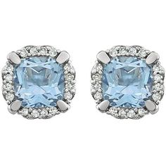 Pre-owned 14K White Gold Blue Topaz & 1.5ct Diamond Halo Earrings (96.215 HUF) ❤ liked on Polyvore featuring jewelry, earrings, star jewelry, i love jewelry, evening earrings, halo diamond earrings and sparkly earrings