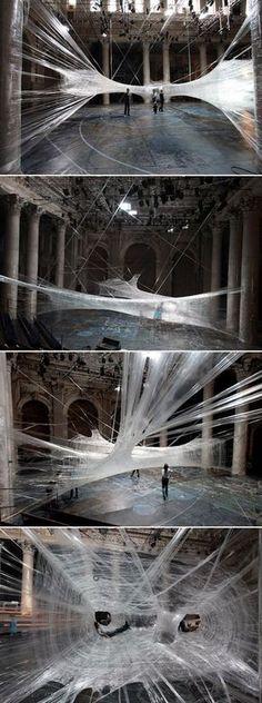 Exhibit&Display.- Packing Tape Spiderweb Installation
