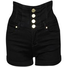 Black High Waisted Shorts ($33) ❤ liked on Polyvore featuring shorts, bottoms, pants, short, short shorts, highwaist shorts, high waisted zipper shorts, cotton shorts and high-waisted shorts