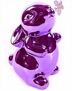 violet piggy bank deco purple bunny rabbit