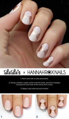 Mani Monday: Pink and Rose Gold Bow Nail Tutorial at LuLus.com!