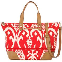 Stella & Dot Getaway - Red Ikat ($138) ❤ liked on Polyvore