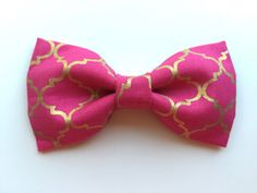 Custom Hot Pink Gold Bowtie for Cats or Dogs  by WhiskersCrafts