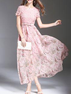 Flowers Applique Beading Floral Dress -SheIn(Sheinside)