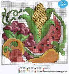 Resultado de imagen para graficos de frutas em ponto cruz