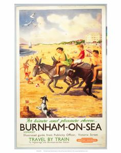 'Burnham-on-Sea', BR (WR) poster. Colour po by Critchlow. Museum quality art prints with a selection of frame and size options, canvases, postcards and mugs. 1950s Posters, Posters Uk, Railway Posters, Poster Prints, Train Posters, British Travel, British Seaside, 1950s Art, National Railway Museum