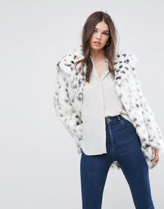 ASOS Faux Fur Jacket in Snow Leopard - White  Jacket by ASOS Collection 41cfa7b8b195