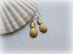 Golden Pineapple earrings by HappyTearsbyMicah on Etsy