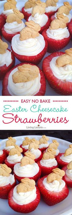 Here's to great no-bake Easter Bunny Cheesecake Stuffed Strawberries! Wow your guests with this quick and simple snack on Easter Sunday.