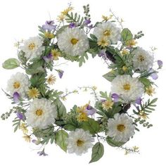 Spring Collection 20 inch Mixed Flower Wreath, 4-Pack, Multicolor