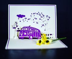 Unfold a memory with this old school van pop-up card. #cards2life #popupcards #unfoldamemory