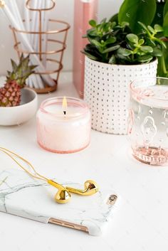 Styled Stock Photography Blush and Greenery Desk Collection #01