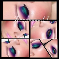 """""""GreenWithEnvy!"""" - #beautiful. a gorgeous deep metallic green on eyelid, with a blue purple shadow above crease area. with a warm pink above the blue purple shadow. warm rosey cheeks and a light pink lip."""