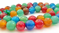 15 Inch Strand of Shades of Multicolored Natural Faceted Agate Gemstone Beads.  8mm Round Beads.  48 Gorgeous Beads. Very Pretty and Unique! by FunkyCreativeJuices on Etsy