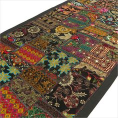 """22 X 80"""" BLACK PATCHWORK TAPESTRY WALL HANGING Indian Boho Bohemian Decor in Home, Furniture & DIY, Home Decor, Wall Hangings   eBay"""