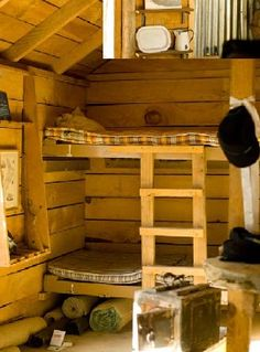 Pioneer's hut. Bunk Beds, Cabins, Loft, Country, Interior, Furniture, Ideas, Home Decor, Decoration Home