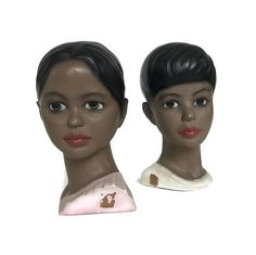Pair of vintage Mid Century chalkware busts. Exotic chalkware figurines made by Lego in Japan. Two busts of women with black hair and red lips. The original Lego label is affixed to the bottom felt bottom. 7 inches tall. Good vintage condition. Each have remnants of the original price sticker. The shorter hair figure has a hairline crack on the head. Please see photos for details. Please take a moment to read SHOP POLICIES for more info on vintage, shipping, etc... INTERNATIONAL buyers…