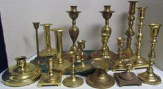 Vintage Brass Candlesticks Candleholders Lot of 16 - Patina - Weddings Free Ship Candleholders, Candlesticks, Brass Candle Holders, Free Wedding, Ship, Weddings, Vintage, Candle Holders, Candle Sticks