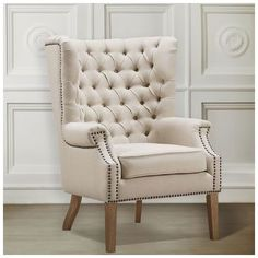$366.40  for two. |  Tov Furniture, TOV-A2041, Chairs, Tov Furniture Tov A2041 Abe Beige Linen Wing Chair