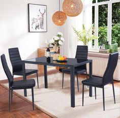 Costway 5 Piece Kitchen Dining Set Glass Metal Table And 4 Chairs intended for Elegant dining room glass - Home Interior Design Dining Room Sets, Metal Dining Room Chairs, Kitchen Table Chairs, Dining Furniture Sets, Small Kitchen Tables, Dining Table Design, Glass Dining Table, Kitchen Dining, Glass Kitchen