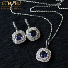 Shiny Tiny Cubic Zirconia Earrings Pendant Necklace Royal Blue CZ Jewelry Sets For Women - August 17 2019 at Women's Jewelry Sets, Jewelry Trends, Women Jewelry, Fashion Jewelry, Fashion Fashion, Jewelry Ideas, Fashion Trends, Wing Earrings, Sapphire Earrings
