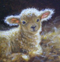 PSALM 23...WE ARE HIS SHEEP AND HE LEADS US TO GOOD THINGS...HE IS OUR GREAT SHEPERD ABD HE IS LOVE.  PAINTING BY/Mary Iselin Fine Art - Sheep & Lamb Paintings