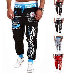 Sport Print Skinny Harem Pants – eDealRetail Pantalon Hombre e5b94859a3bdb
