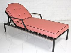 Hollywood Sunlounger in Pink with Black Piping - ModShop