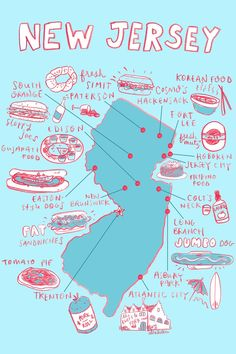 Map of New Jersey's food Jersey Girl, New Jersey, Asbury Park, All Things New, Cape May, Atlantic City, Plans, New Hampshire, Rhode Island